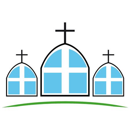Christian cross church triple