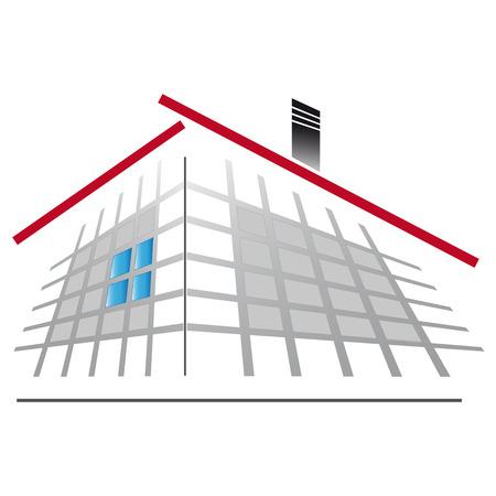 house diagram: Icon house with gray diagram Illustration