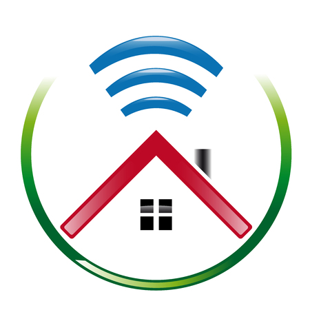 house logo: House abstract logo with wi-fi wave Illustration
