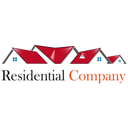 residential: Residential house with red roof icon
