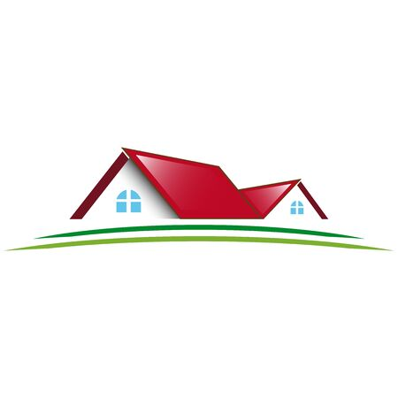 residential: Two residential house icon red roof Illustration