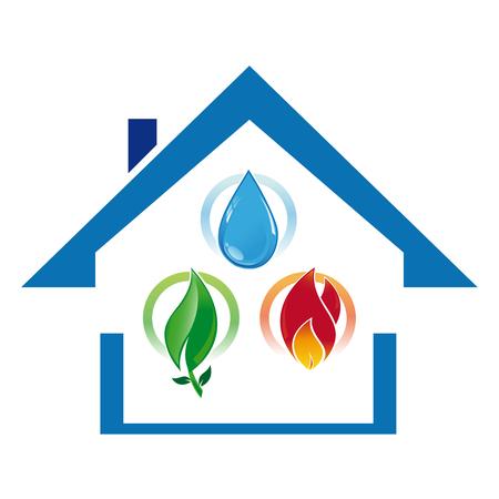 Icoon huis met het water, verwarming en ecologisch duurzame ontwikkeling