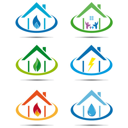water drops on leaf: Set of utility house icons
