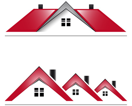 rural houses: Two icon house with red roof