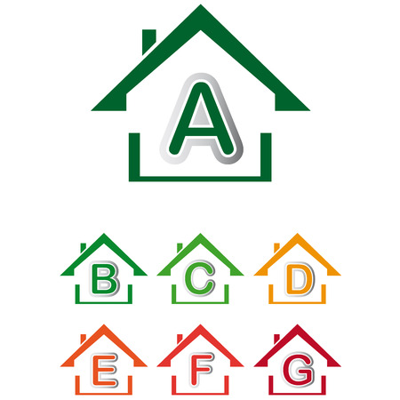 sustainable development: Group house icon with sustainable development level A
