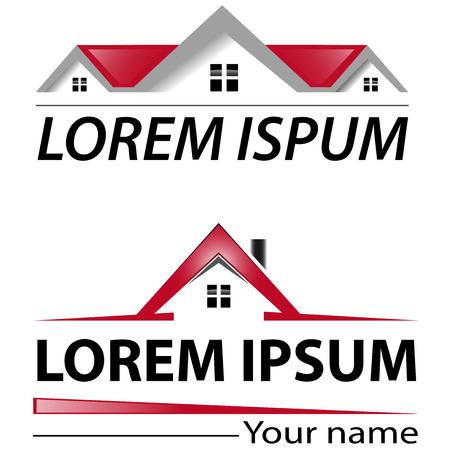 logotipo de construccion: Dos insignia de la casa con techo rojo