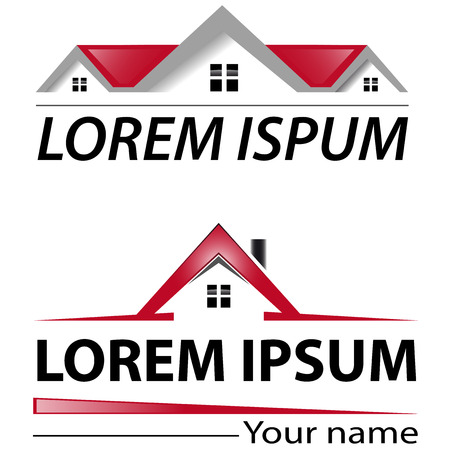house logo: Two logo house with red roof Illustration