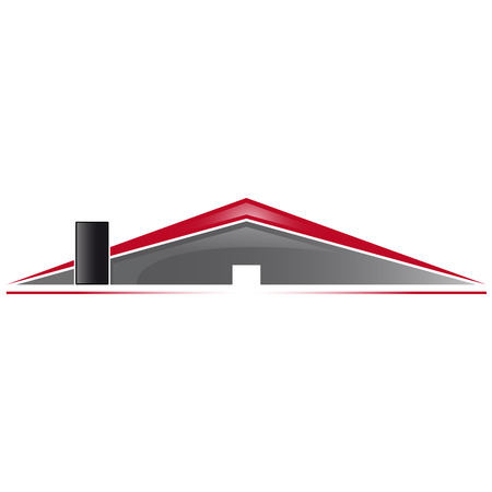 house logo: Simply house logo with red roof and gray wall