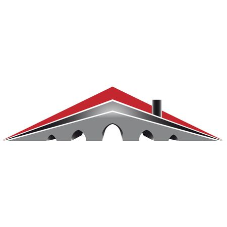 Simply house logo with red roof and five arck