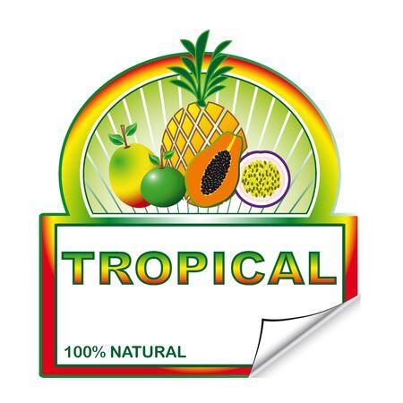 exotic fruits: Market label for exotic fruits