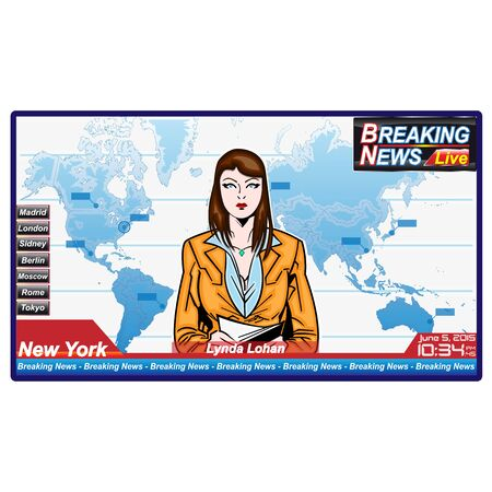 Breaking news with serious woman journalist Illustration