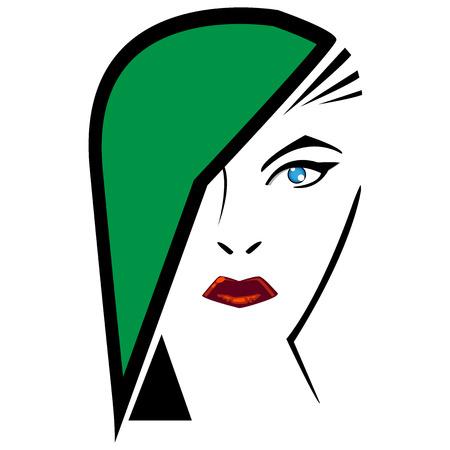 original: Beautiful woman with original hairstyle and makeup