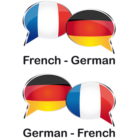 german french translator cloud Vector Illustration