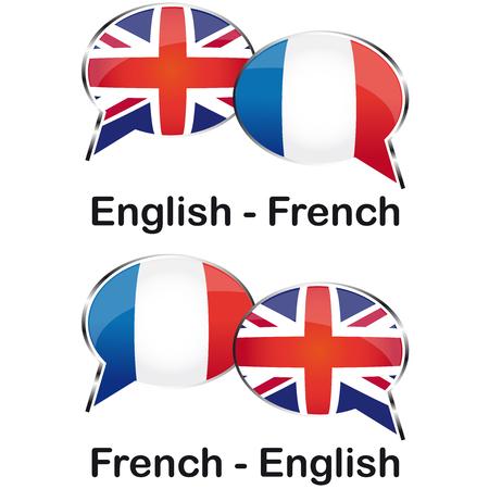 Inglese french translator cloud Vector Illustration