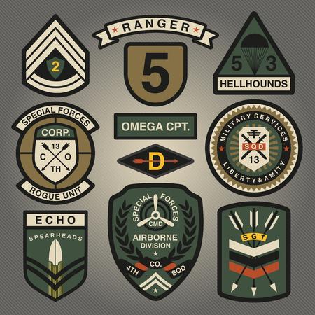 Set Militär und Armee Aufnäher und Abzeichen 4 Standard-Bild - 56948117