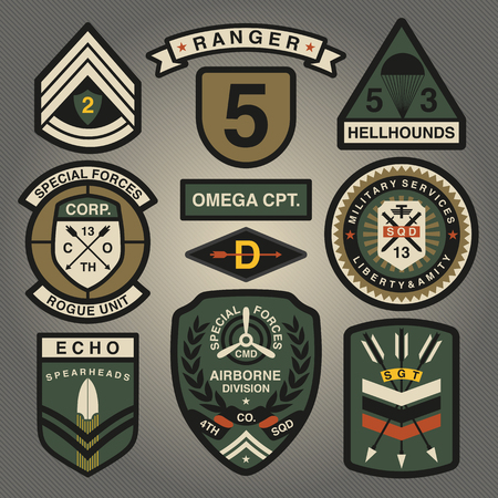 Set Of Military and Army Patches and Badges 4 Çizim