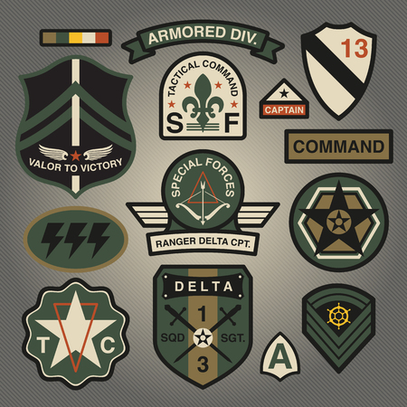 Set Of Military and Army Patches and Badges 3 Illusztráció