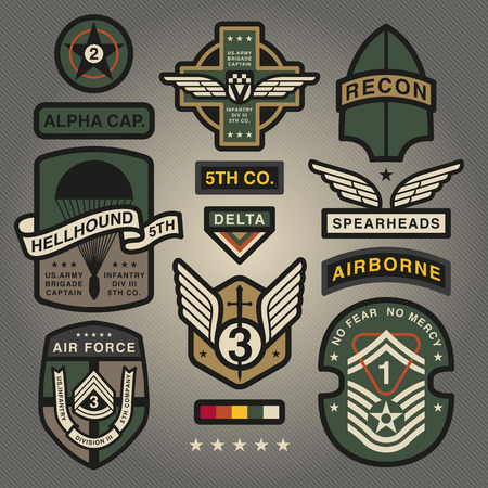 Set Of Military and Army Patches and Badges 2 Illusztráció