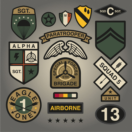 Set Of Military and Army Patches and Badges 1 Ilustrace