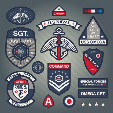 embroidery: Set Of Military and Army Patches and Badges in Naval style 1