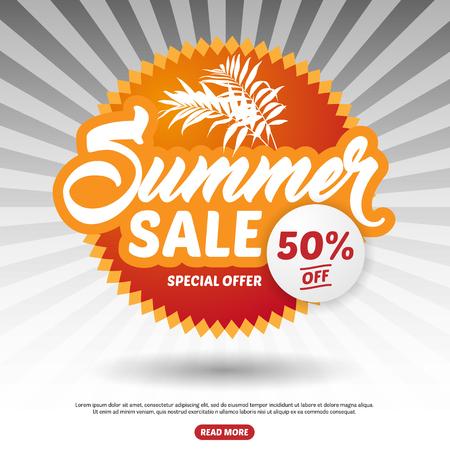 50 off: Summer Sale, Palm leaves, Special Offer, 50% Off. Illustration