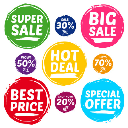 big deal: Colorful Sale Tags In Grunge Style. Big Sale, Hot Sale, Seasonal Sale, Final Clearance Sale, News, New, Deal, Shop.