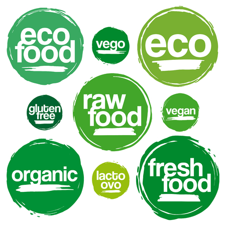 Set Of Labels And Tags For Eco And Organic Food In Grunge Style. For Meal And Drink, Cafe, Restaurants And Organic Products Packaging. In Various Green Tones.