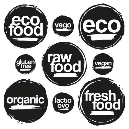 Set Etiketten En Etiketten Voor Eco En Organisch Voedsel In Grunge Style. Voor Maaltijden En Drinken, Cafe, Restaurants En Organische Producten Verpakking. In zwarte kleur.
