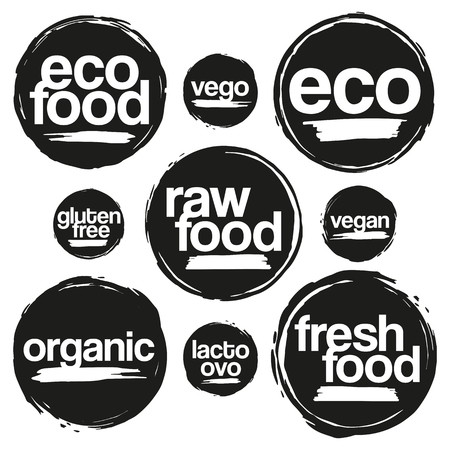 Set Of Labels And Tags For Eco And Organic Food In Grunge Style. For Meal And Drink, Cafe, Restaurants And Organic Products Packaging. In Black color. Illusztráció