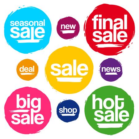 Kleurrijke Sale Tags In Grunge Stijl. Big Sale, Hot Koop, Seizoensgebonden Verkoop, Final Uitverkoop, News, New, Deal, Shop.