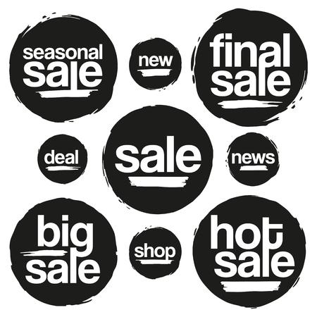 Black Sale Tags In Grunge Stijl. Big Sale, Hot Koop, Seizoensgebonden Verkoop, Final Uitverkoop, News, New, Deal, Shop. Stock Illustratie