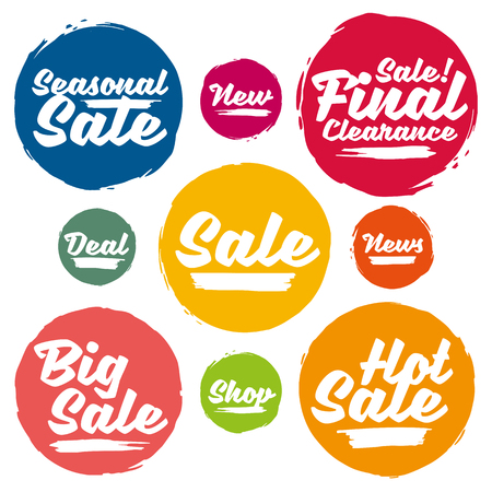 Colorful Calligraphic Sale Tags In Grunge Style. Big Sale, Hot Sale, Seasonal Sale, Final Clearance Sale, News, New, Deal, Shop. Illusztráció