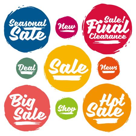 Kleurrijke kalligrafische Sale Tags In Grunge Stijl. Big Sale, Hot Koop, Seizoensgebonden Verkoop, Final Uitverkoop, News, New, Deal, Shop. Stock Illustratie