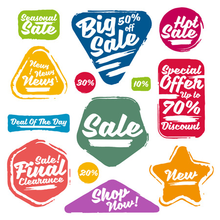 Colorful Sale Tags In Grunge Style. Big Sale, Special Offer, Hot Sale, Final Clearance Sale, Seasonal Sale, Deal Of The Day, Discount, Shop Now, 70% off, 50% off, 30% off, 20% off, 10% off.