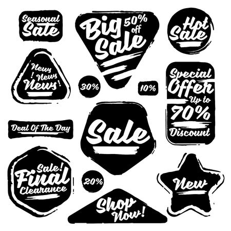 Black Sale Tags In Grunge Style. Big Sale, Special Offer, Hot Sale, Final Clearance Sale, Seasonal Sale, Deal Of The Day, Discount, Shop Now, 70% off, 50% off, 30% off, 20% off, 10% off.