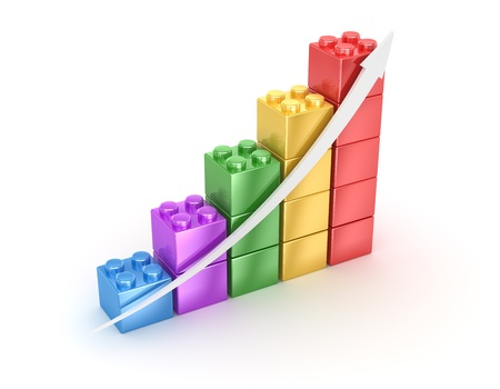 Bar chart from toy blocks , computer generated image  3d render  Stock Photo - 16986091