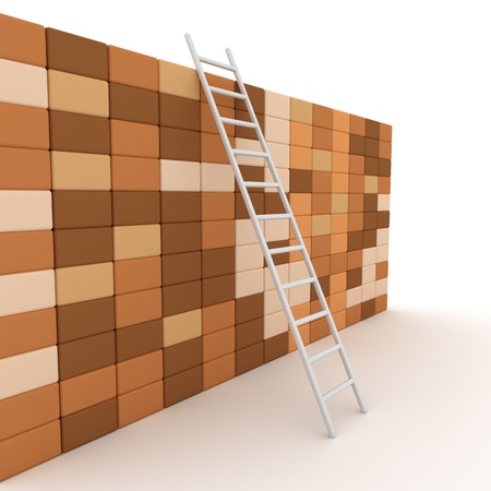 Ladder and wall , computer generated image  3d render  Stock Photo
