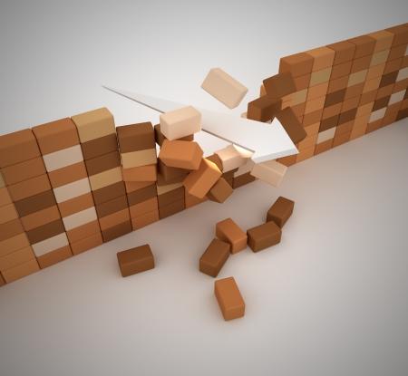 Broken wall , computer generated image  3d render