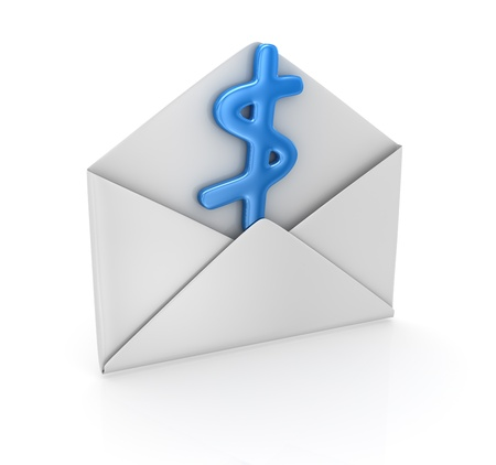 Dollar sign in envelope , computer generated image  Stock Photo