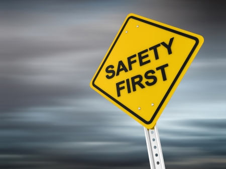 road safety: Safety first , computer generated image. 3d render.