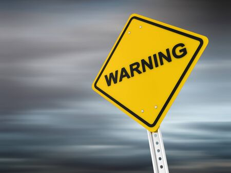 Warning , computer generated image  3d render  Stock Photo