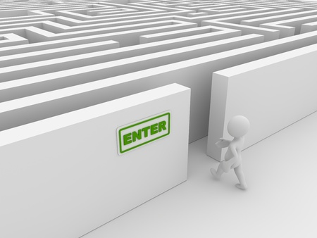 Entering the maze , computer generated image. 3d render.