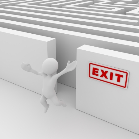Exit the maze , computer generated image. 3d render. Stock Photo