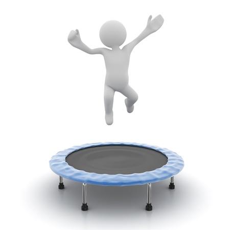 男はコンピューター生成画像、トランポリンでジャンプします。3 d のレンダリング。