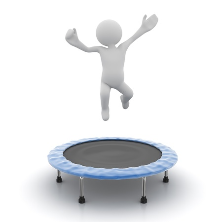 computer generated image: Man jumping on trampoline , computer generated image. 3d render. Stock Photo