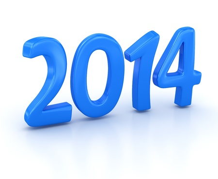 New year 2014, computer generated image  3d render  Stock Photo