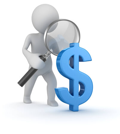Dollar sign search , computer generated image. 3d render. Stock Photo