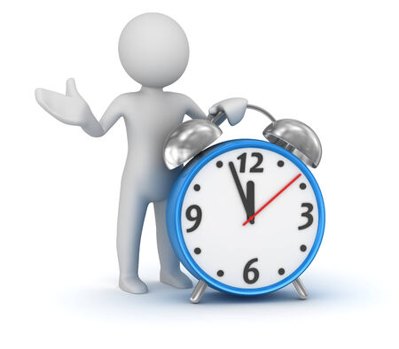 Man and clock , computer generated image. 3d render.