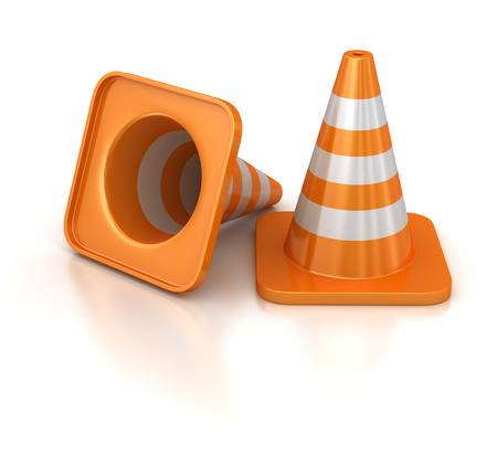 computer generated image: Traffic cones , computer generated image. 3d render.