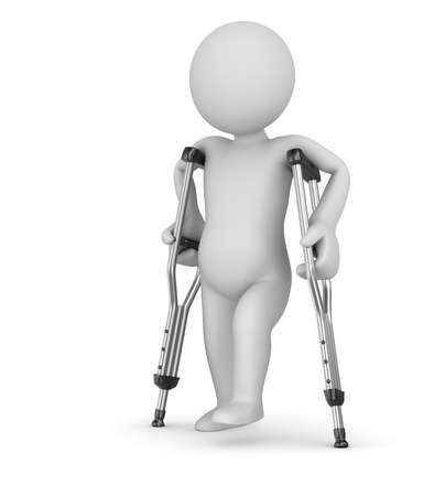 crutch: Crutch and man , computer generated image  3d render